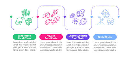 Food chain vector infographic template. Biological energy consumption process presentation design elements. Data visualization with 4 steps. Process timeline chart. Workflow layout with linear icons Ilustración de vector