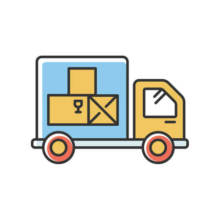 Goods receipt RGB color icon. Logistics, distribution, merchandise delivery service. Cargo transportation, products supply. Truck, industrial transport. Isolated vector illustration