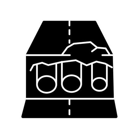 Pipe replacement black glyph icon. Installation of tubes to repair leaking. Road works construction. Civil engineering trench. Silhouette symbol on white space. Vector isolated illustration