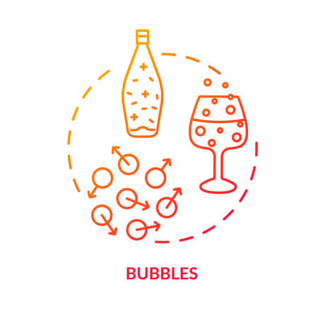 Bubbles concept icon. Fizzy drinks, winetasting advice idea thin line illustration. Spoiled alcohol beverage, still wines flaws signs. Vector isolated outline RGB color drawing