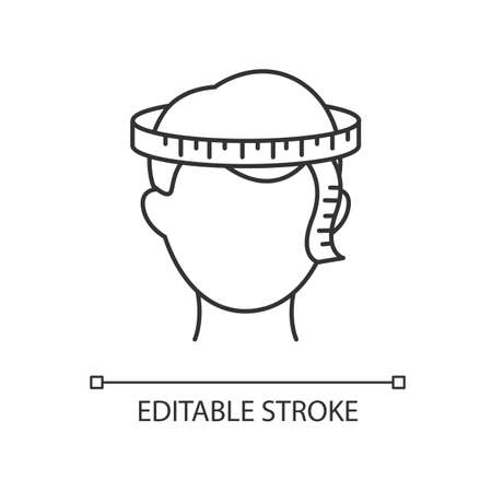 Head circumference pixel perfect linear icon. Thin line customizable illustration. Human body measuring contour symbol. Dimensions for bespoke hat. Vector isolated outline drawing. Editable stroke