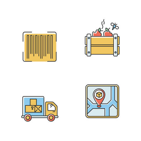 Goods availability and quality control RGB color icons set. Storage place, goods spoilage and receipt. Product barcode identification. Isolated vector illustrations