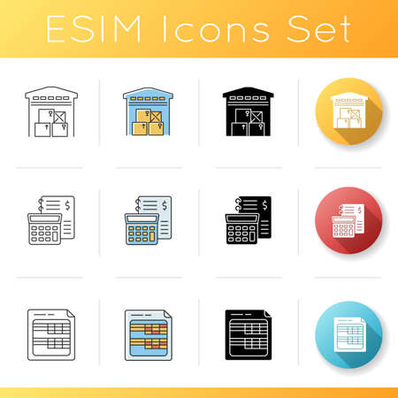 Inventory control and financial accounting icons set. Bookkeeping spreadsheets. Warehousing, goods storage. Linear, black and RGB color styles. Isolated vector illustrations