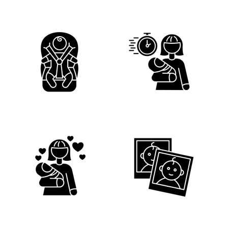 Babysitting service black glyph icons set on white space. Child transportation. Emergency babysitter. Mom love for baby. Photo report for parents. Silhouette symbols. Vector isolated illustration