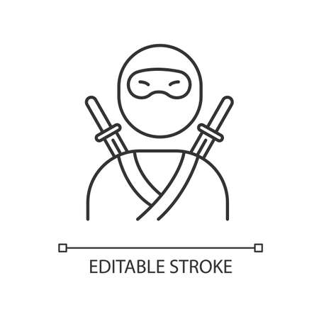 Ninja pixel perfect linear icon. Traditional japanese fighter. Asian assassin in mask and costume. Thin line customizable illustration. Contour symbol. Vector isolated outline drawing. Editable stroke