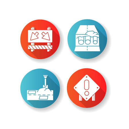 Road works RGB color icons set. Traffic sign for cars to take detour. Attention roadsign. Patching paving. Pipe replacement. Construction works warning. Isolated vector illustrations Illustration