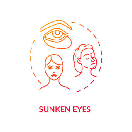 Sunken eyes red concept icon. Lack of sleep sign. Dark circles from sleeplessness. Tired woman. Rotavirus symptom idea thin line illustration. Vector isolated outline RGB color drawing