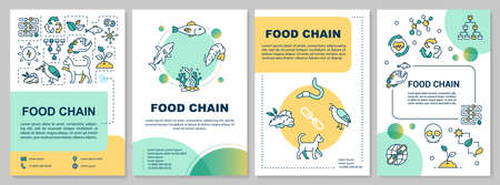 Food chain brochure template. Producers and consumers web. Flyer, booklet, leaflet print, cover design with linear icons. Vector layouts for magazines, annual reports, advertising posters
