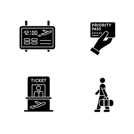 Airport terminal black glyph icons set on white space. Flight information on electronic scoreboard. Passenger with luggage. Timetable for departure. Silhouette symbols. Vector isolated illustration