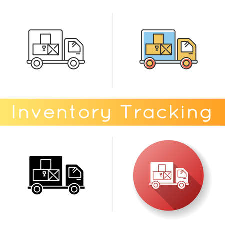 Goods receipt icon. Logistics, distribution, merchandise delivery service. Cargo transportation and products supply. Linear, black and RGB color styles. Isolated vector illustrations