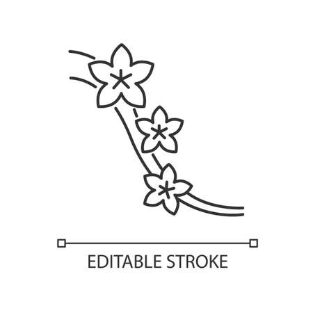 Sakura pixel perfect linear icon. Blossom on tree branch. Japanese hanami. Flourish on twig. Thin line customizable illustration. Contour symbol. Vector isolated outline drawing. Editable stroke
