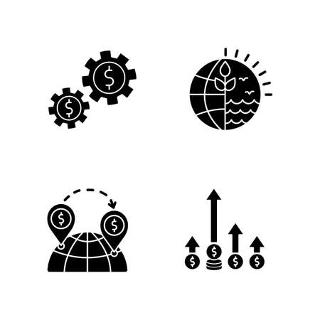 International business, global trade black glyph icons set on white space. Assets, natural resources using. Commerce, world trading, competitive edge. Silhouette symbols. Vector isolated illustration  イラスト・ベクター素材