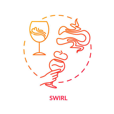 Swirl concept icon. Wine degustation tips, winetasting advice idea thin line illustration. Swirling wineglass to increase drink aroma. Vector isolated outline RGB color drawing