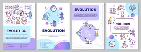 Evolution brochure template. Natural selection and genetic drift. Flyer, booklet, leaflet print, cover design with linear icons. Vector layouts for magazines, annual reports, advertising posters Vettoriali