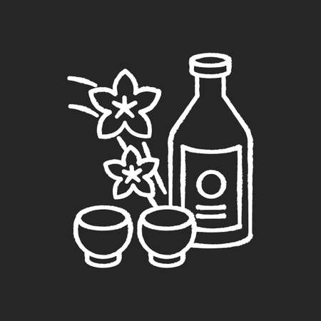 Sake chalk white icon on black background. Japanese rice wine and sakura branch. Korean soju drink with two mugs. Asian liquor in bottle with shot cups. Isolated vector chalkboard illustration