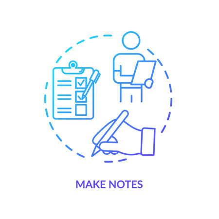 Make notes concept icon. Degustation event, winetasting tips, sommelier advice idea thin line illustration. Writing down preferred wines. Vector isolated outline RGB color drawing