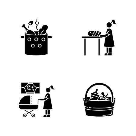 Babysitter service black glyph icons set on white space. Cooking food. Woman changing baby diaper. Night time nanny. Babysitting set. Silhouette symbols. Vector isolated illustration