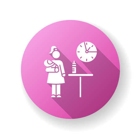 Part time babysitter flat design long shadow glyph icon. Babysitting service worker. Girl looking after baby. Day child care. Help with infant kid. Silhouette RGB color illustration Ilustración de vector