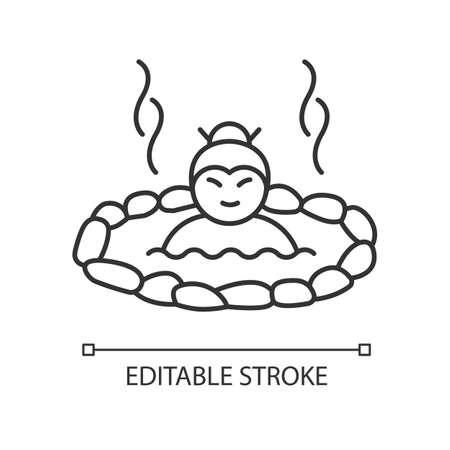 Hot spring pixel perfect linear icon. Japanese onsen. Spa resort for recreation. Volcanic pool. Thin line customizable illustration. Contour symbol. Vector isolated outline drawing. Editable stroke