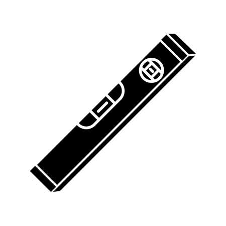 Waterpass black glyph icon. Builder tool to measure accuracy surface level. Carpenter instrument to determine precision of construction. Silhouette symbol on white space. Vector isolated illustration