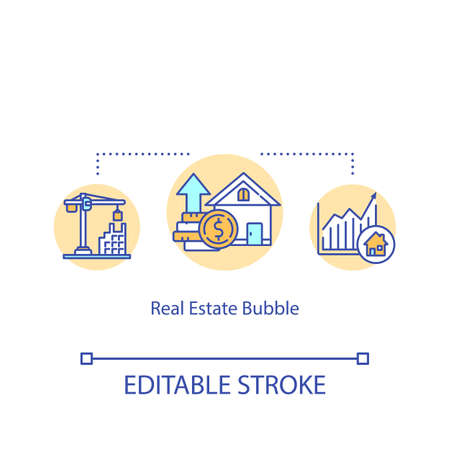 Real estate bubble concept icon. Housing prices increase following land boom idea thin line illustration. Financial crisis management. Vector isolated outline RGB color drawing. Editable stroke Vetores