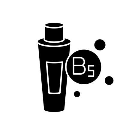 B5 panthenol in tube black glyph icon. Medical ointment. Remedy in package. Moisturizing cosmetic product for hair treatment. Silhouette symbol on white space. Vector isolated illustration Stock Illustratie