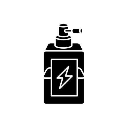 Antistatic hair sprayer black glyph icon. Liquid product in container for winter haircare. Chemical cosmetic formula for hair treatment. Silhouette symbol on white space. Vector isolated illustration