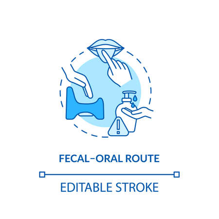 Fecal oral route turquoise concept icon. Contagious infection spread. Lack of sanitation. Rotavirus transmission idea thin line illustration. Vector isolated outline RGB color drawing. Editable stroke