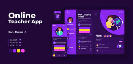 Online teacher app screen vector adaptive design template. Remote education, e learning application night mode interface with flat character. Tutor account smartphone, tablet, smart watch cartoon UI