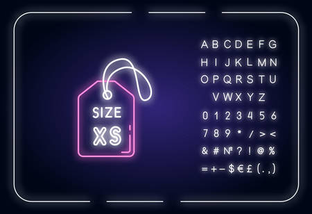 Extra small size label neon light icon. Outer glowing effect. Clothing parameters description sign with alphabet, numbers and symbols. Tag with XS letters. Vector isolated RGB color illustration 向量圖像