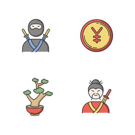 Japan RGB color icons set. Ninja warrior, assassin in mask. Yen coin. Chinese yuan. Bonsai tree in pot. Samurai, asian martial arts. Traditional japanese symbols. Isolated vector illustrations Stock Illustratie