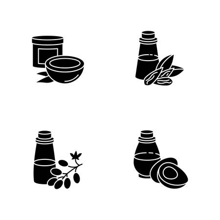 Hair oils black glyph icons set on white space. Jojoba essence for healthy nourishment. Keratin formula for haircare. Rosemary extract in bottle. Silhouette symbols. Vector isolated illustration