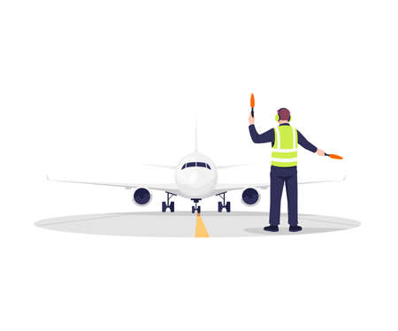 Airplane runway controller semi flat RGB color vector illustration. Plane arrival. Man in uniform navigate with light sticks. Male airport worker isolated cartoon character on white background