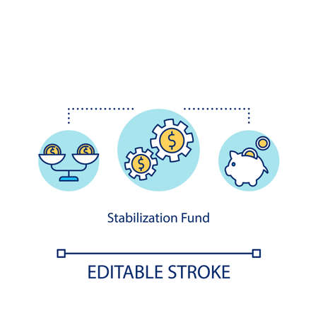 Stabilization fund concept icon. Financial crisis management, prevention idea thin line illustration. National economy maintenance mechanism. Vector isolated outline RGB color drawing. Editable stroke