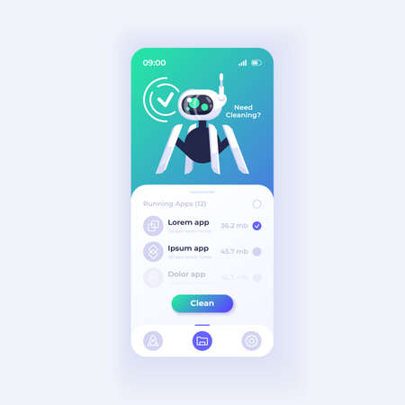 Memory cleaner application smartphone interface vector template. Mobile app page light theme design layout. Storage capacity increasing process screen. Flat UI for application. Phone display