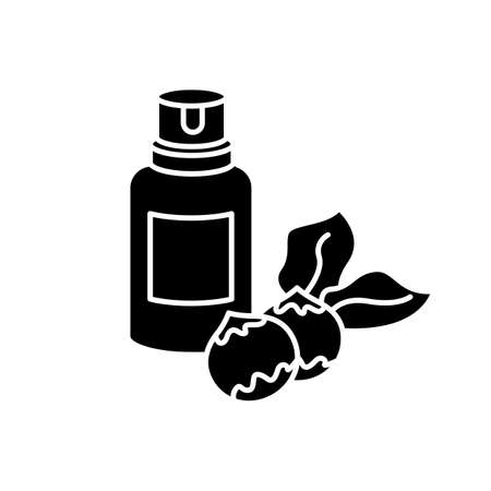Macadamia oil black glyph icon. Organic vegan essence for haircare. Australian nuts extract. Natural cosmetic product for hair treatment. Silhouette symbol on white space. Vector isolated illustration