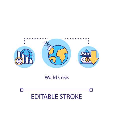 World crisis concept icon. International financial emergency, global economics problem idea thin line illustration. Stock market crash. Vector isolated outline RGB color drawing. Editable stroke