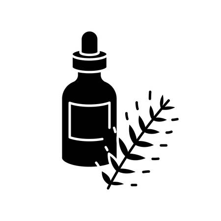 Hydrolyzed wheat protein black glyph icon. Herbal extract in container with droplet. Natural cosmetic product for hair treatment. Silhouette symbol on white space. Vector isolated illustration