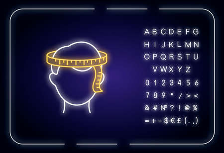 Head circumference neon light icon. Outer glowing effect. Sign with alphabet, numbers and symbols. Dimensions specification for bespoke, custom made hat. Vector isolated RGB color illustration