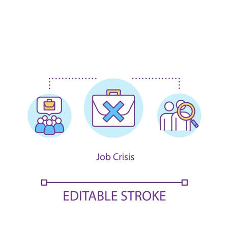 Job crisis concept icon. Massive unemployment, job cuts idea thin line illustration. Labor market emergency, unstable situation. Vector isolated outline RGB color drawing. Editable stroke Illustration