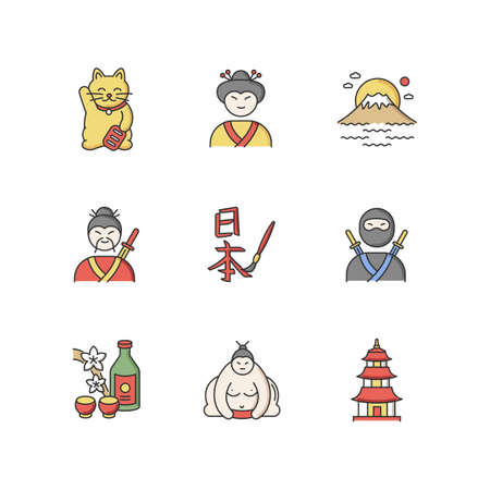 Japan RGB color icons set. Maneki neko. Geisha woman. Mount Fuji. Samurai and ninja. Asian calligraphy. Sumo wrestler. Pagoda style temple. Japanese attributes. Isolated vector illustrations Vettoriali