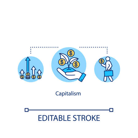 Capitalism concept icon. Economic and political system idea thin line illustration. Competitive markets, capital accumulation, wage labor. Vector isolated outline RGB color drawing. Editable stroke