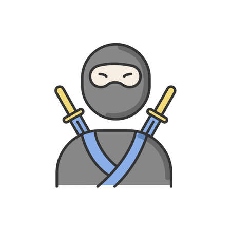 Ninja RGB color icon. Traditional japanese fighter. Asian assassin in mask and costume. Samurai with two katanas. Mercenary with swords on back. Martial arts man. Isolated vector illustration