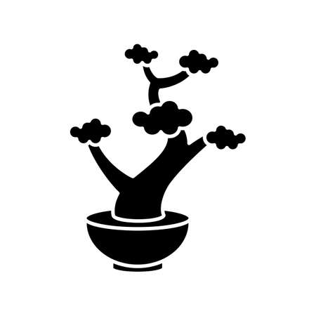 Bonsai black glyph icon. Tiny cultivated potted tree. Decorative gardening. Flowerpot with dwarf plant with foliage on branches. Silhouette symbol on white space. Vector isolated illustration