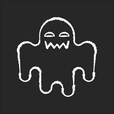 Horror movie chalk white icon on black background. Scary film genre, creepy ghost story. Popular cinema category with paranormal monsters. Spooky spectre isolated vector chalkboard illustration