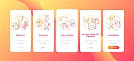 Rotavirus symptoms onboarding mobile app page screen with concepts. Reduced urination frequency infection sign walkthrough 5 steps graphic instructions. UI vector template with RGB color illustrations 矢量图像