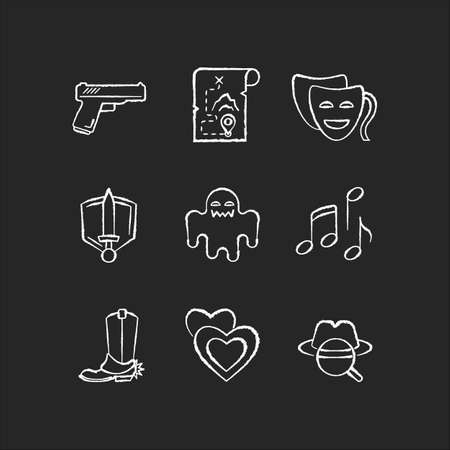 Different movie styles and genres chalk white icons set on black background. Popular film and TV show types. Media entertainment, filmmaking industry. Isolated vector chalkboard illustrations