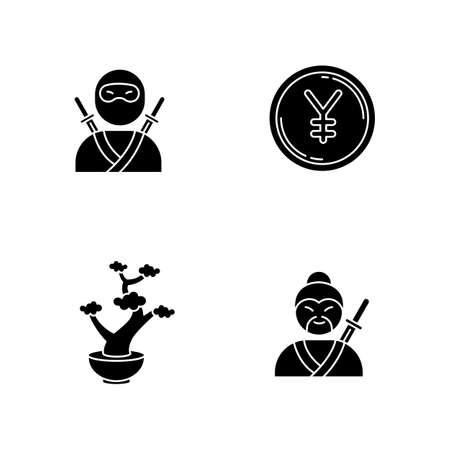Japan black glyph icons set on white space. Ninja warrior. Yen coin. Bonsai tree in pot. Samurai, asian martial arts. Traditional japanese symbols. Silhouette symbols. Vector isolated illustration