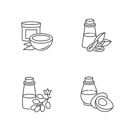 Hair oils pixel perfect linear icons set. Jojoba essence for healthy nourishment. Rosemary extract. Customizable thin line contour symbols. Isolated vector outline illustrations. Editable stroke
