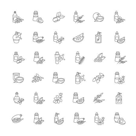 Hair oils pixel perfect linear icons set. Avocado natural essence. Exotic baobab extract for haircare. Customizable thin line contour symbols. Isolated vector outline illustrations. Editable stroke